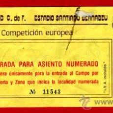 Coleccionismo deportivo: ENTRADA FUTBOL , REAL MADRID ESTADIO SANTIAGO BERNABEU, COMPETICION EUROPA ,EF1098. Lote 24067688