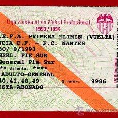 Coleccionismo deportivo: ENTRADA FUTBOL , VALENCIA NANTES , COPA UEFA , 1993 ,EF1117. Lote 24113679