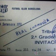 Coleccionismo deportivo: ENTRADA LIGA 1991 92 INVITACION F.C BARCELONA REAL ZARAGOZA FUTBOL. Lote 26192741