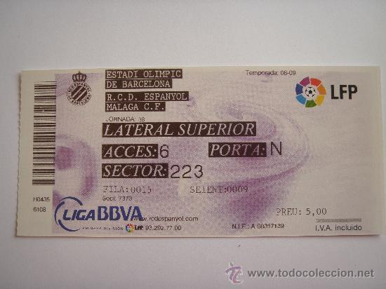 RCD ESPANYOL - ESTADI OLIMPIC - ULTIMA- (Coleccionismo Deportivo - Documentos de Deportes - Entradas de Fútbol)