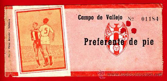 ENTRADA FUTBOL, LEVANTE UD CAMPO VALLEJO , 1966 , ORIGINAL , EF1592 (Coleccionismo Deportivo - Documentos de Deportes - Entradas de Fútbol)