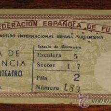 Coleccionismo deportivo: ANTIGUA ENTRADA DEL I PARTIDO INTERNACIONAL ESPAÑA - ARGENTINA - REAL FEDERACION DE FUTBOL - ESTADIO. Lote 27521261