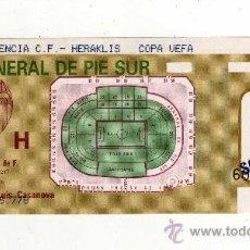Coleccionismo deportivo: ENTRADA FUTBOL - COPA UEFA 1990 / 91 - VALENCIA FC - HERAKLIS. Lote 28520325