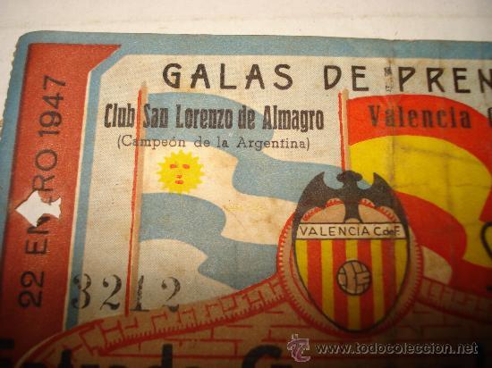 Coleccionismo deportivo: Antigua Entrada al Campo de MESTALLA . Galas de Prensa San Lorenzo de Almagro - Valencia Año 1947 - Foto 5 - 28666483
