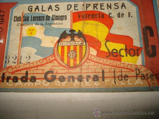 Coleccionismo deportivo: Antigua Entrada al Campo de MESTALLA . Galas de Prensa San Lorenzo de Almagro - Valencia Año 1947 - Foto 4 - 28666483