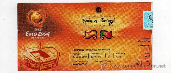 ENTRADA EUROCOPA 2004 PORTUGAL - PARTIDO ESPAÑA - PORTUGAL , (Coleccionismo Deportivo - Documentos de Deportes - Entradas de Fútbol)