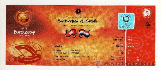 ENTRADA EUROCOPA 2004 PORTUGAL - PARTIDO SUIZA - CROACIA , (Coleccionismo Deportivo - Documentos de Deportes - Entradas de Fútbol)