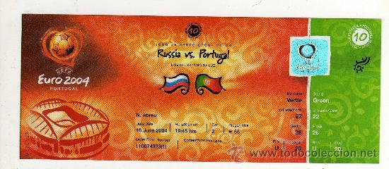 ENTRADA EUROCOPA 2004 PORTUGAL - PARTIDO RUSIA - PORTUGAL , (Coleccionismo Deportivo - Documentos de Deportes - Entradas de Fútbol)