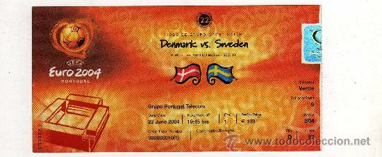 ENTRADA EUROCOPA 2004 PORTUGAL - PARTIDO DINAMARCA - SUECIA , (Coleccionismo Deportivo - Documentos de Deportes - Entradas de Fútbol)