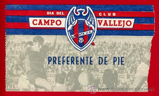 ENTRADA FUTBOL , CAMPO VALLEJO , LEVANTE UD MESTALLA , 1966 , EF1950 (Coleccionismo Deportivo - Documentos de Deportes - Entradas de Fútbol)