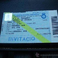 Coleccionismo deportivo: ENTRADA PARTIDO LIGA 1ª DIVISIÓN ESTADIO SARRIÀ RCD ESPANYOL RCD ESPAÑOL - OVIEDO TEMP 1992-93. Lote 30666655