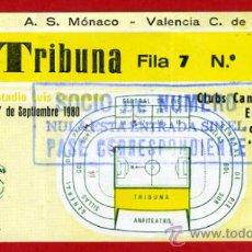 Coleccionismo deportivo: ENTRADA FUTBOL , VALENCIA A S MONACO , 17 SEPTIEMBRE 1980, RECOPA ,ORIGINAL , EF3086. Lote 31133997