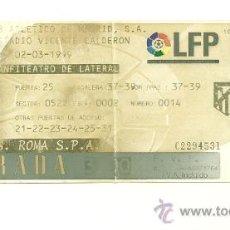 Coleccionismo deportivo: ENTRADA FUTBOL - ATLETICO DE MADRID VS ROMA COPA UEFA 98-99. Lote 31386500