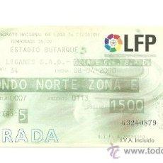 Coleccionismo deportivo: ENTRADA FUTBOL - LEGANES VS GETAFE LIGA 1999-2000. Lote 31386555