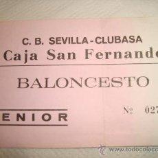 Coleccionismo deportivo: ENTRADA BALONCESTO SEVILLA CLUBASA. Lote 31958649