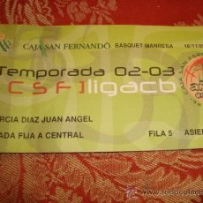 Coleccionismo deportivo: ENTRADA BALONCESTO ACB TEMPORADA 02-03 BASQUET MANRESA. Lote 31958772