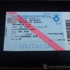 Coleccionismo deportivo: ENTRADA PARTIDO LIGA 1ª DIVISIÓN FÚTBOL SARRIÀ RCD ESPANYOL RCD ESPAÑOL - VALENCIA TEMP 1992-93. Lote 32400891