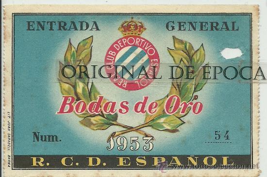 (F-78)ENTRADA 29-3-53 R.C.D.ESPAÑOL,3-MALMOE(SUECIA),2 (Coleccionismo Deportivo - Documentos de Deportes - Entradas de Fútbol)