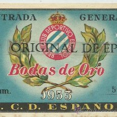 Coleccionismo deportivo: (F-78)ENTRADA 29-3-53 R.C.D.ESPAÑOL,3-MALMOE(SUECIA),2. Lote 32420458