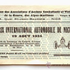 Coleccionismo deportivo: ENTRADA GRAND PRIX NICE.1934. Lote 32549920