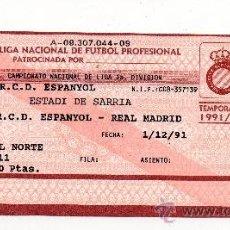 Coleccionismo deportivo: ENTRADA RCD ESPAÑOL - REAL MADRID , ESTADI DE SARRIA 1991 - . Lote 33074395