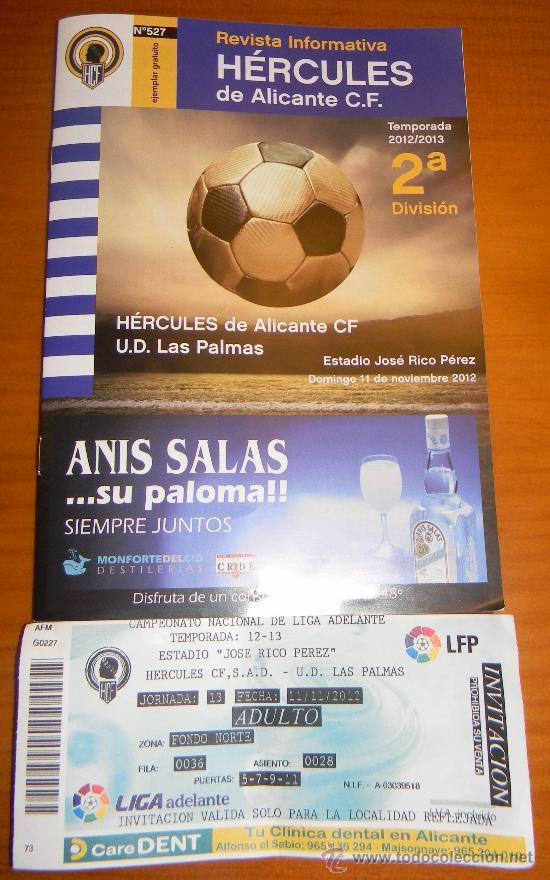 HERCULES UD LAS PALMAS TEMPORADA 2012-13 ENTRADA+LIBRITO DEL PARTIDO (Coleccionismo Deportivo - Documentos de Deportes - Entradas de Fútbol)