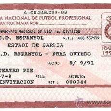 Coleccionismo deportivo: ENTRADA RCD ESPANYOL TEMP 1991 / 1992. Lote 34302997
