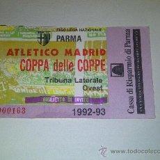 Coleccionismo deportivo: 6.22 ENTRADA DE FUTBOL ATLETICO DE MADRID - PARMA 1992-1993 COMPETICION EUROPEA. Lote 35991002