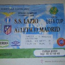 Coleccionismo deportivo: 6.26 ENTRADA DE FUTBAL UEFA 14 DE ABRIL DE 1998 ATLETICO DE MADRID - S.S LAZIO. Lote 35991071