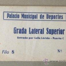 Coleccionismo deportivo: BLOQUE DE 58 ENTRADAS PARA EL PALACIO MUNICIPAL DE DEPORTES DE BARCELONA. GRADA LATAERAL SUPERIOR. . Lote 36680909