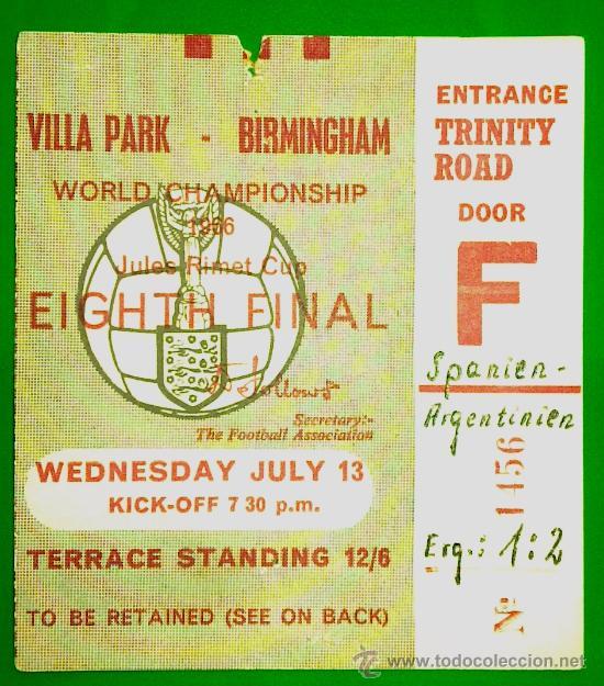 ENTRADA FUTBOL MUNDIAL 1966 ESPAÑA - ARGENTINA (Coleccionismo Deportivo - Documentos de Deportes - Entradas de Fútbol)