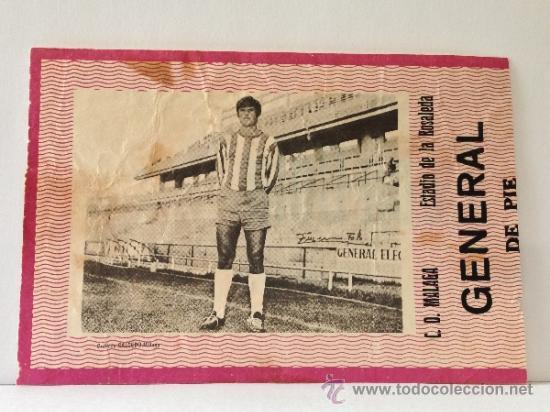 RARA ENTRADA DE FÚTBOL CON FOTOGRAFÍA DEL JUGADOR PONS. ESTADIO DE LA ROSALEDA. 1970. C. D.MÁLAGA (Coleccionismo Deportivo - Documentos de Deportes - Entradas de Fútbol)