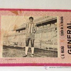 Coleccionismo deportivo: RARA ENTRADA DE FÚTBOL CON FOTOGRAFÍA DEL JUGADOR PONS. ESTADIO DE LA ROSALEDA. 1970. C. D.MÁLAGA. Lote 37155288