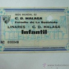 Coleccionismo deportivo: ENTRADA FUTBOL - ESTADIO LA ROSALEDA - LINARES - MALAGA - INFANTIL - DE LOS 80. Lote 37353550