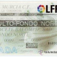 Coleccionismo deportivo: ENTRADA FUTBOL FOOTBALL TICKET MURCIA ALBACETE BALOMPIE 2003. Lote 37440751
