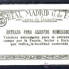 Coleccionismo deportivo: ENTRADA CAMPO DE CHAMARTIN - REAL MADRID CLUB DE FUTBOL - ENTRADA PARA ASIENTOS NUMERADOS. Lote 37759074