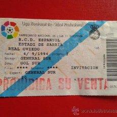 Coleccionismo deportivo: ENTRADA LIGA 1ª DIVISIÓN ESTADIO SARRIÀ RCD ESPANYOL RCD ESPAÑOL REAL OVIEDO 94-95. Lote 37770679