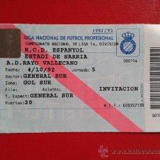 Coleccionismo deportivo: ENTRADA LIGA 1ª DIVISIÓN ESTADIO SARRIÀ RCD ESPANYOL RCD ESPAÑOL A.D RAYO VALLECANO 92-93. Lote 37771424