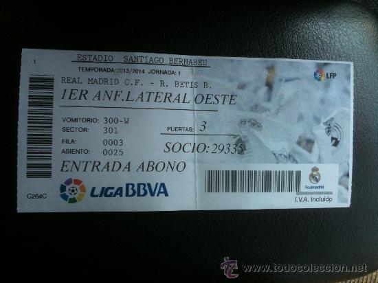 Entrada Ticket Lfp Liga Bbva Real Madrid Vs B Comprar