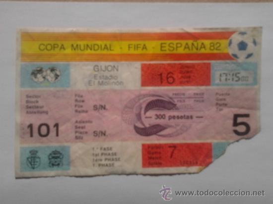 ENTRADA DE FUTBOL COPA MUNDIAL, FIFA ESPAÑA 82 EN GIJON, EL MOLINON (Coleccionismo Deportivo - Documentos de Deportes - Entradas de Fútbol)