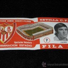Coleccionismo deportivo: ENTRADA FILA 0 - TERMINACION ESTADIO RAMON SANCHEZ - PIZJUAN - SEVILLA C.F. - JAEN - AÑOS 70. Lote 39253854