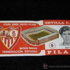 Coleccionismo deportivo: ENTRADA FILA 0 - TERMINACION ESTADIO RAMON SANCHEZ - PIZJUAN - SEVILLA C.F. - RIVAS I - AÑOS 70. Lote 39253857