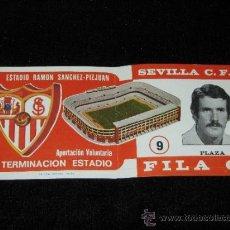 Coleccionismo deportivo: ENTRADA FILA 0 - TERMINACION ESTADIO RAMON SANCHEZ - PIZJUAN - SEVILLA C.F. - PLAZA - AÑOS 70. Lote 39253886