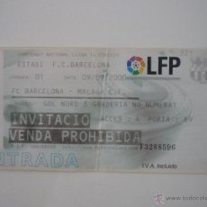 Coleccionismo deportivo: ENTRADA FUTBOL CAMP NOU FC BARCELONA - MALAGA (LIGA 9.9.2000) - INVITACION BARÇA 2000 2001. Lote 39410350