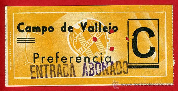 ENTRADA FUTBOL , CAMPO VALLEJO , LEVANTE UD , ANTIGUA ,ORIGINAL , EF3404 (Coleccionismo Deportivo - Documentos de Deportes - Entradas de Fútbol)