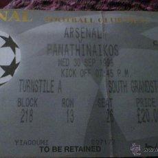 Coleccionismo deportivo: ENTRADA ARSENAL - PANATHINAIKOS 1998-1999 (CHAMPIONS LEAGUE). Lote 40389211