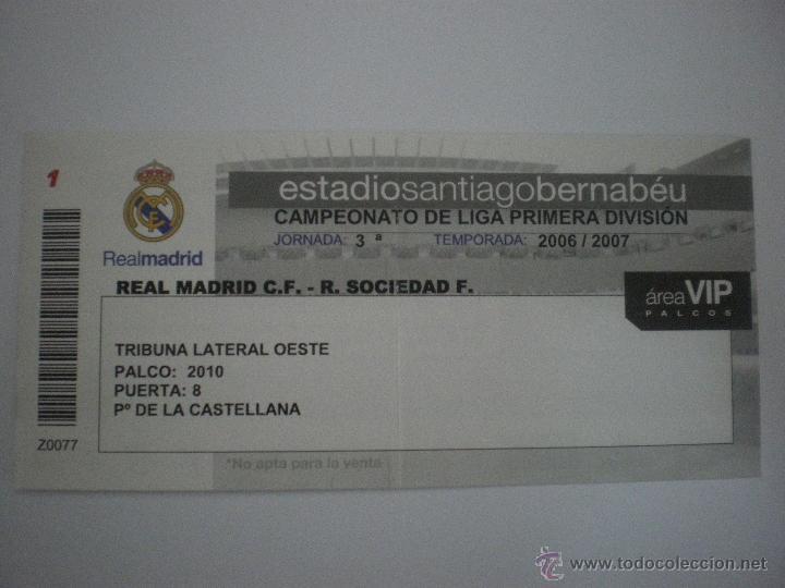8fbdcdeeb Coleccionismo deportivo: Entrada fútbol Real Madrid - Real Sociedad de  Fútbol de San Sebastián-