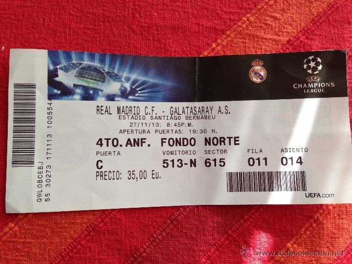 ENTRADA TICKET REAL MADRID GALATASARAY CHAMPIONS EUROPA LEAGUE 2013 2014 (Coleccionismo Deportivo - Documentos de Deportes - Entradas de Fútbol)