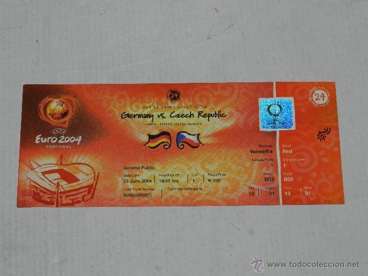 ENTRADA EUROCOPA PORTUGAL EURO 2004 , ALEMANIA - REPUPLICA CHECA , BUEN ESTADO (Coleccionismo Deportivo - Documentos de Deportes - Entradas de Fútbol)