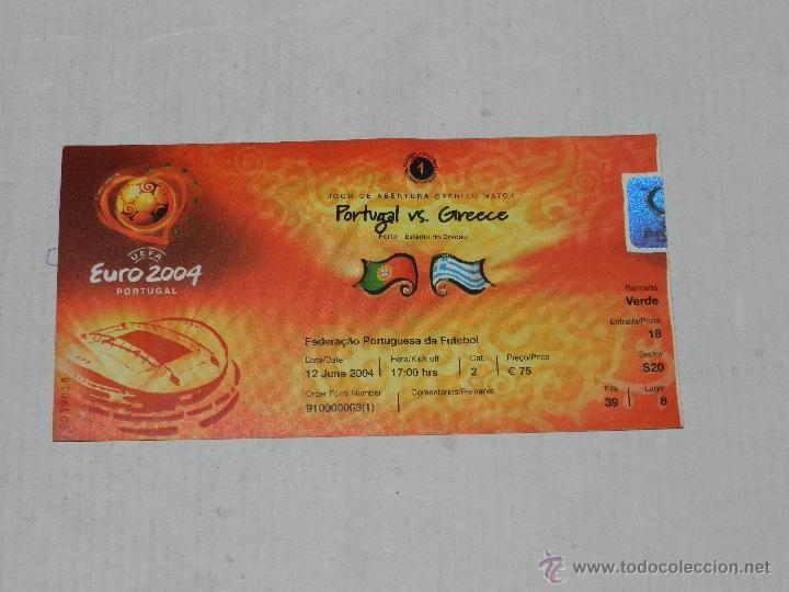 ENTRADA EUROCOPA PORTUGAL EURO 2004 , 1 PARTIDO PORTUGAL - GRECIA , SEÑALES DE USO (Coleccionismo Deportivo - Documentos de Deportes - Entradas de Fútbol)